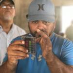 Mabiel in La Paz checks chlorine levels